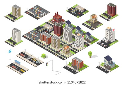 Isometric big set of city cityscape vector low poly elements