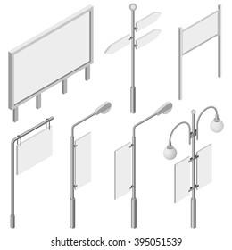 Isometric Billboards.Flat 3d isometric vector illustration. Billboards, advertise billboards.