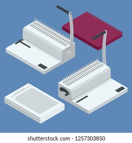 Isometric binder machine. Binding documents with plastic ring binder by using ring binding machine for report preparation. Vector illustration