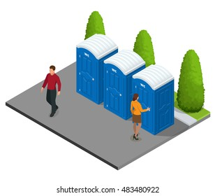 Isometric Bio mobile toilets in city. Hiking services. Flat color style illustration