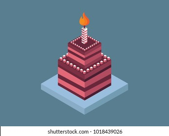 Isometric birthday cake