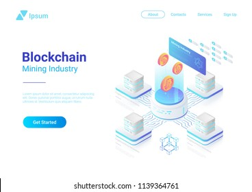 Isometric Bitcoin Miners Computers website vector design. Mining Industry Cryptocurrency illustration concept.