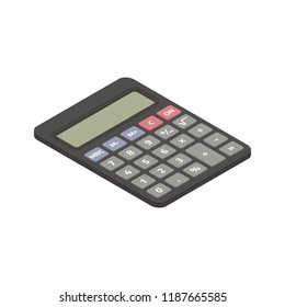Isometric black calculator flat icon. 3d vector illustration isolated on white background. Top view.