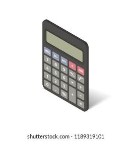 Isometric black calculator flat icon. 3d vector illustration isolated on white background.
