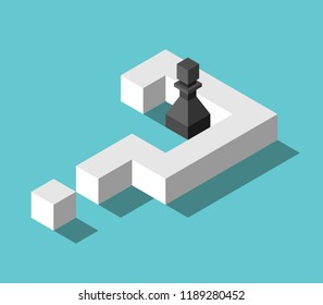 Isometric black chess pawn inside big white question mark on turquoise blue. Confusion, problem, decision and deadlock concept. Flat design. Vector illustration, no transparency, no gradients