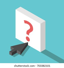 Isometric black cursor pointing at white button with question mark on turquoise blue. Problem, help and confusion concept. Flat design. EPS 8 vector illustration, no transparency, no gradients