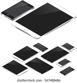 Isometric black and white tablets and phones set with metal polished frames.