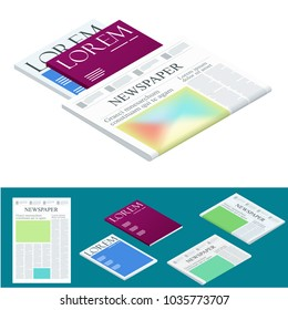 Isometric blank newspaper and magazines. Business and finance. Newspaper journal design template. Vector illustration
