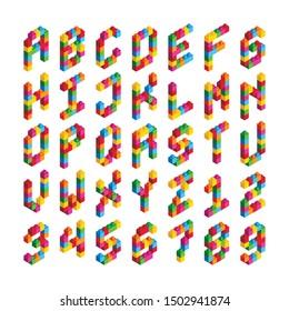 Isometric Block Alphabet Font Vector Set