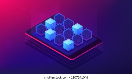 Isometric blockchain application landing page concept. Blockchain technology as application platform with scripting language illustration on ultra violet background. Vector 3d isometric illustration.