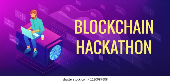 Isometric blockchain hackathon landing page concept. Blockchain developer with laptop as team member and problem solution illustration on ultraviolet background. Vector 3d isometric illustration