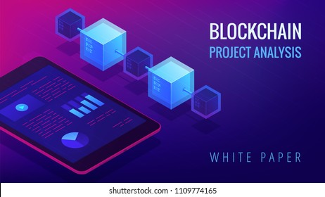 Isometric blockchain project analysis and white paper landing page concept. Blockchain fintech, global cryptocurrency economy illustration on ultra violet background. Vector 3d isometric illustration.