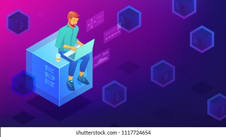 Isometric blockchain technology development concept. Blockchain developer sitting on mining block and coding the smart contract application. Vector 3D isometric illustration on ultraviolet background.