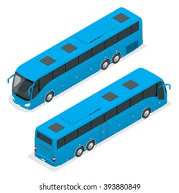 Isometric blue bus. Road vehicle designed to carry many passengers.