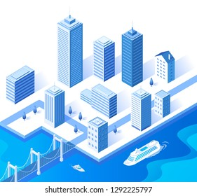 Isometric blue city buildings and port vector illustration