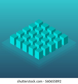 isometric of blue cube group blue color vector