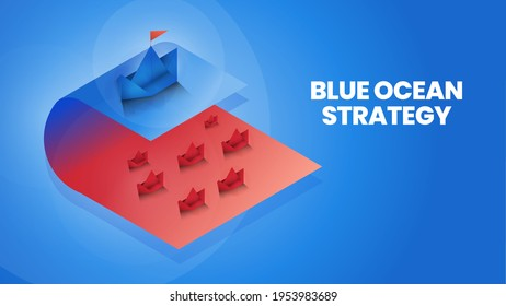 Isometric blue ocean strategy is comparison 2 market; red ocean and blue ocean market and customer for marketing analysis and plan. The origami presentation metaphor pioneer market has no competition