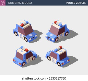 Isometric Blue Police Vehicle, Police Cruiser, Prowler, Squad Car, Radio Mobile Patrol RMP with Rooftop Flashing Lights and Emblems. Isometric High Quality EPS 10 Vector. Flat Style Illustration.