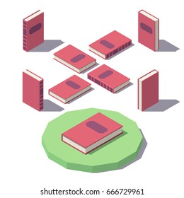 Isometric book from different angles isolated on white background.