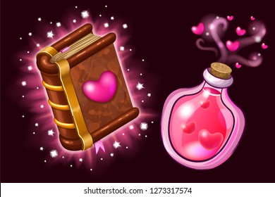 Isometric book of magic spells and witchcraft for computer game decorated heart in cartoon style. Elements for Valentine's Day. Magical love elixir. Vector illustration.