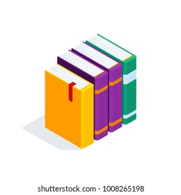 Isometric books isolated on white background. 3d stack of books. Pile of books with bookmarks. Concept of learning. Vector illustration.