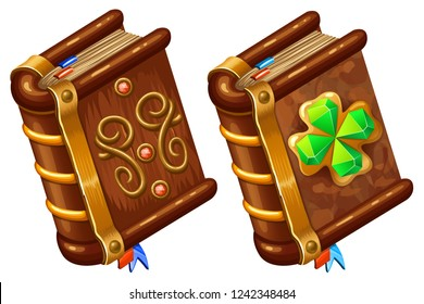 Isometric books of magic spells and witchcraft for computer game decorated four leaf clover for St. Patrick's day with diamonds in cartoon style. Vector illustration.