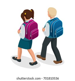 Isometric boy and girl back-to-school illustration Children go to school with their back packs and in school uniforms Education Happy to study Vector illustration used for workflow layout, banner game