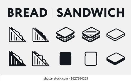 Isometric Bread Toast Breakfast. Triangle Sandwich. Fast Food. Flat Vector Line Icon Set.