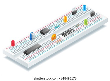 Isometric breadboard with  electronic components vector illustration