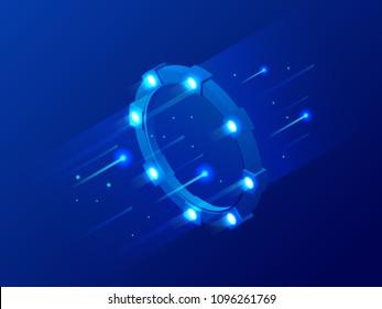 Isometric bright border, magic portal, luminous swirling, elegant glowing circle, space tunnel vector illustration