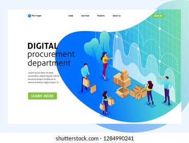 Isometric Bright concept concept of digital procurement, marketing research, teamwork. Website Template Landing page.