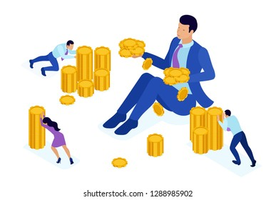 Isometric Bright concept microfinance organization, big businessman holding a lot of money. Concept for web