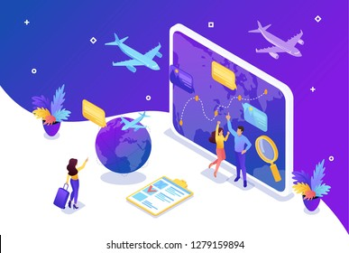 Isometric Bright concept site concept Tourists look at the globe and choose the direction to relax. Concept for web design.