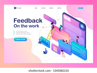 Isometric bright concept users write comments, recall and feedback about services. Template Landing page.
