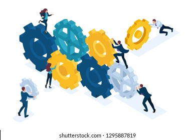Isometric Bright site concept Conceptual image of business team working cohesively. Interaction and unity. Concept for web design.
