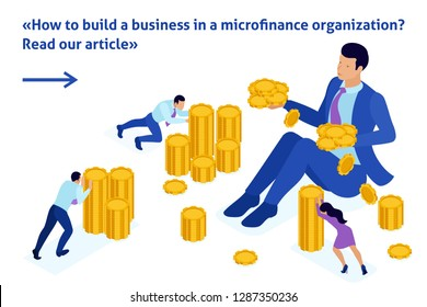 Isometric Bright Template banner article microfinance organization, big businessman holding a lot of money.