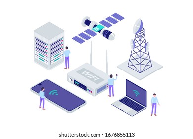 Isometric Broadband Internet Provider Modern Illustration, Web Banners, Suitable for Diagrams, Infographics, Book Illustration, Game Asset, And Other Graphic Assets