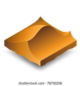Isometric brown sand dunes (barkhans).