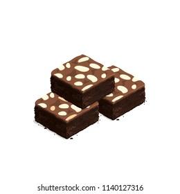 isometric brownie chocolate cake vector