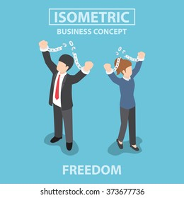 Isometric bsiness People breaking metal chain to freedom, VECTOR, EPS10