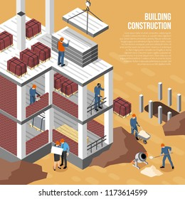 Isometric builder architect background composition with images of building under construction human characters and editable text vector illustration