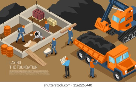 Isometric builder architect horizontal composition with view of construction site at early phase with editable text vector illustration