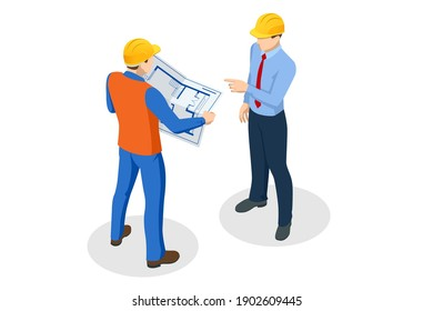 Isometric Builders On Building Site Looking At Plan. Business plan development. Teamwork and people concept.
