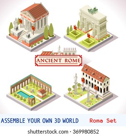 Isometric Building Ancient Rome landmark Tile Online Strategic Android video Game Development. Isometric Flat Roman house Building Set. Rome Caesar emperor palace vector Temple Empire Icon Collection