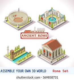 Isometric Building Ancient Rome Tile Online Strategic Game Development. Flat 3D Roman Imperial Building Set. Gladiator android video Game Isometric Rome Caesar Age. Vector Temple Arena Empire Icon 3d