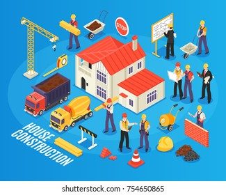 Isometric building background with figures of housebuilder workers and engineers transport construction materials and ready house vector illustration