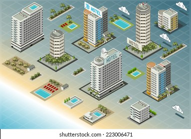 Isometric Building City Palace Home Real Estate Resort Public Buildings Collection Luxury Hotel beach. Isometric Building Tile. Resort Buildings City Map Illustration Hotel Set Business Vector 3d Game