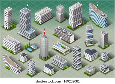Isometric Building City Palace Private Real Estate. Public Building icon Collection Luxury Hotel Garden. Isometric Tiles. 3d Urban Map Illustration Elements Set Business Vector Game