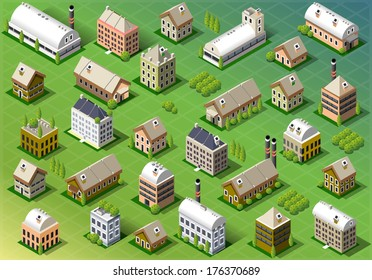 Isometric Building City Palace Private Real Estate.Public Buildings Collection Luxury Hotel Gardens. Isometric Building Tiles. Green Spring Buildings Map Illustration Elements Set Business Vector Game