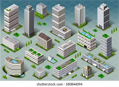 Isometric Building City Palace Private Real Estate.Public Buildings Collection Luxury Hotel Gardens. Isometric Building Tiles.3d Skyscraper Buildings Map Illustration Elements Set Business Vector Game